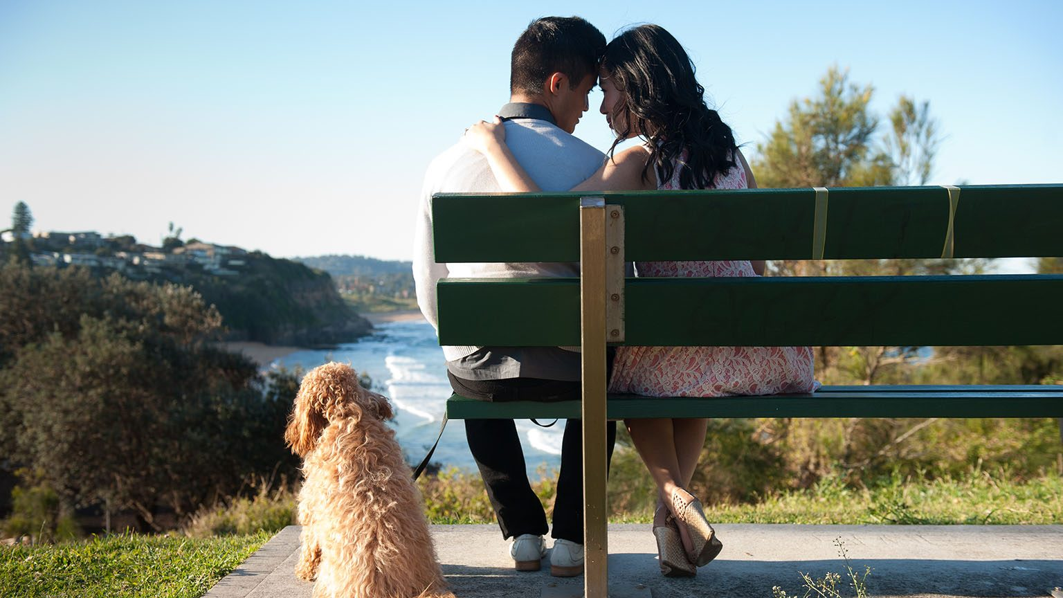 Happy couple sitting on a bench with their dog.