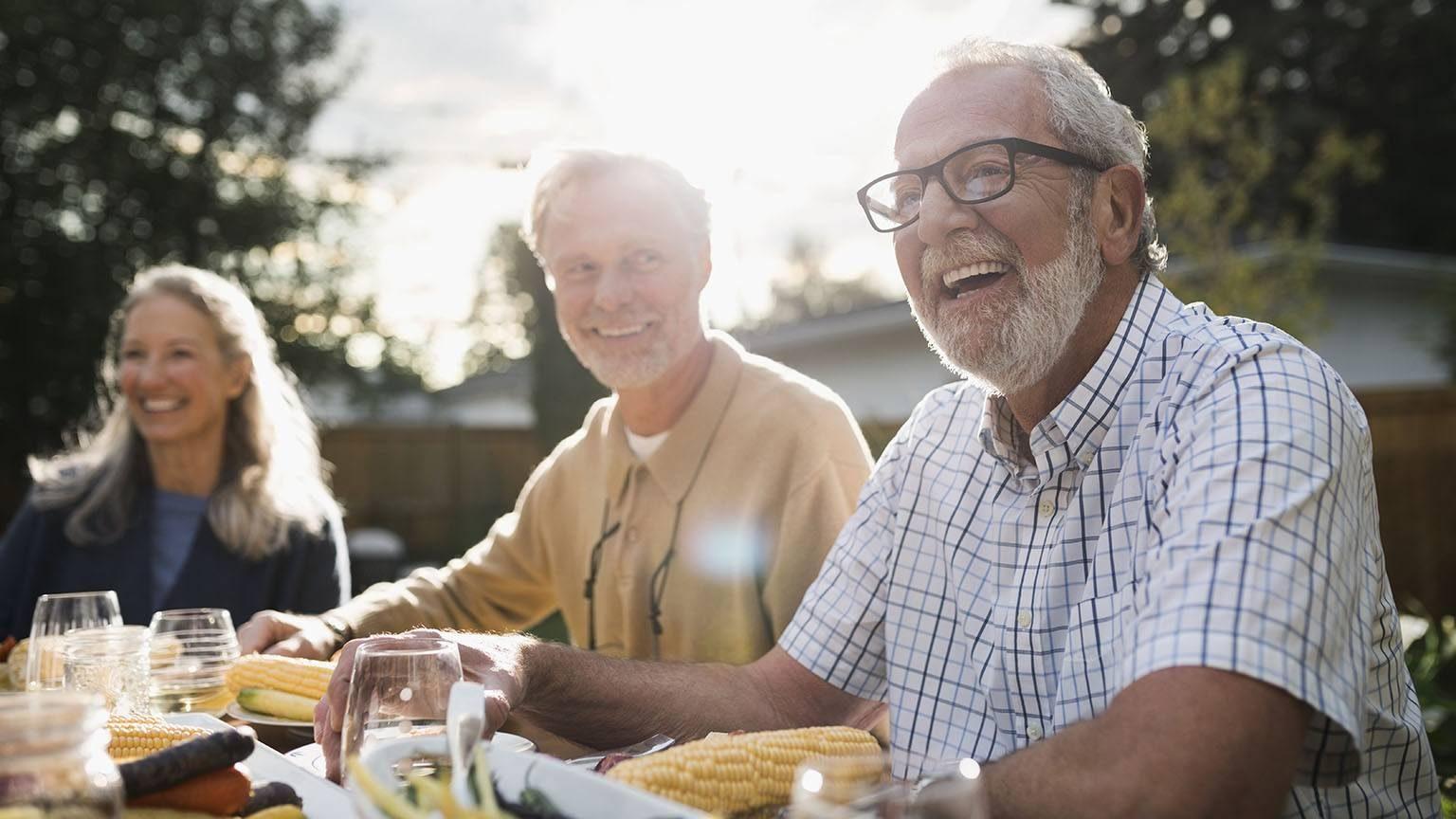 Laughing senior man