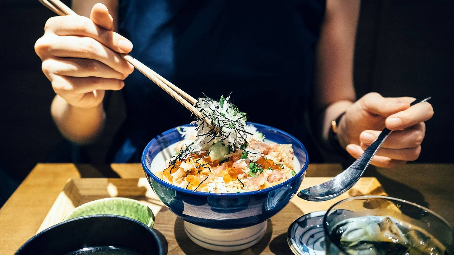 Enjoying japanese food