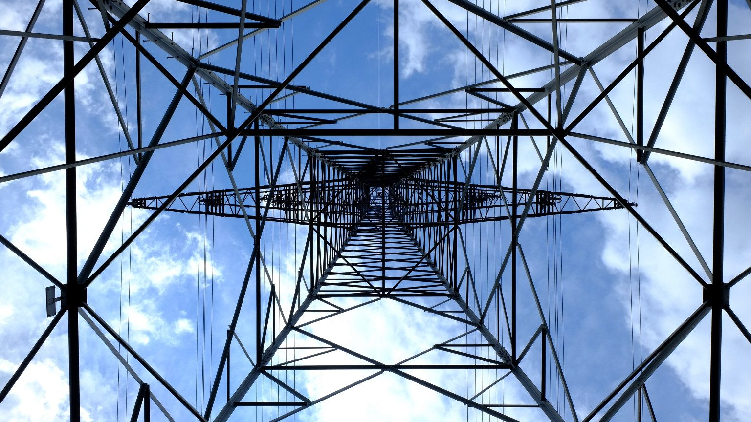 Power Lines Tower From Below