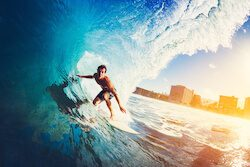 Traveller surfing on holiday