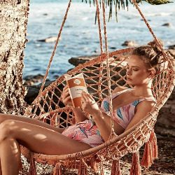 2019 Gold Black Boho chic Kiini Style Crochet Embroidered Swimsuit Bikini Size S