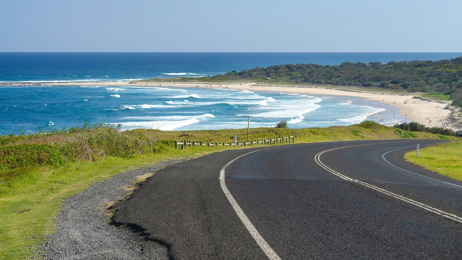 Road driving toward Coffs Harbour.