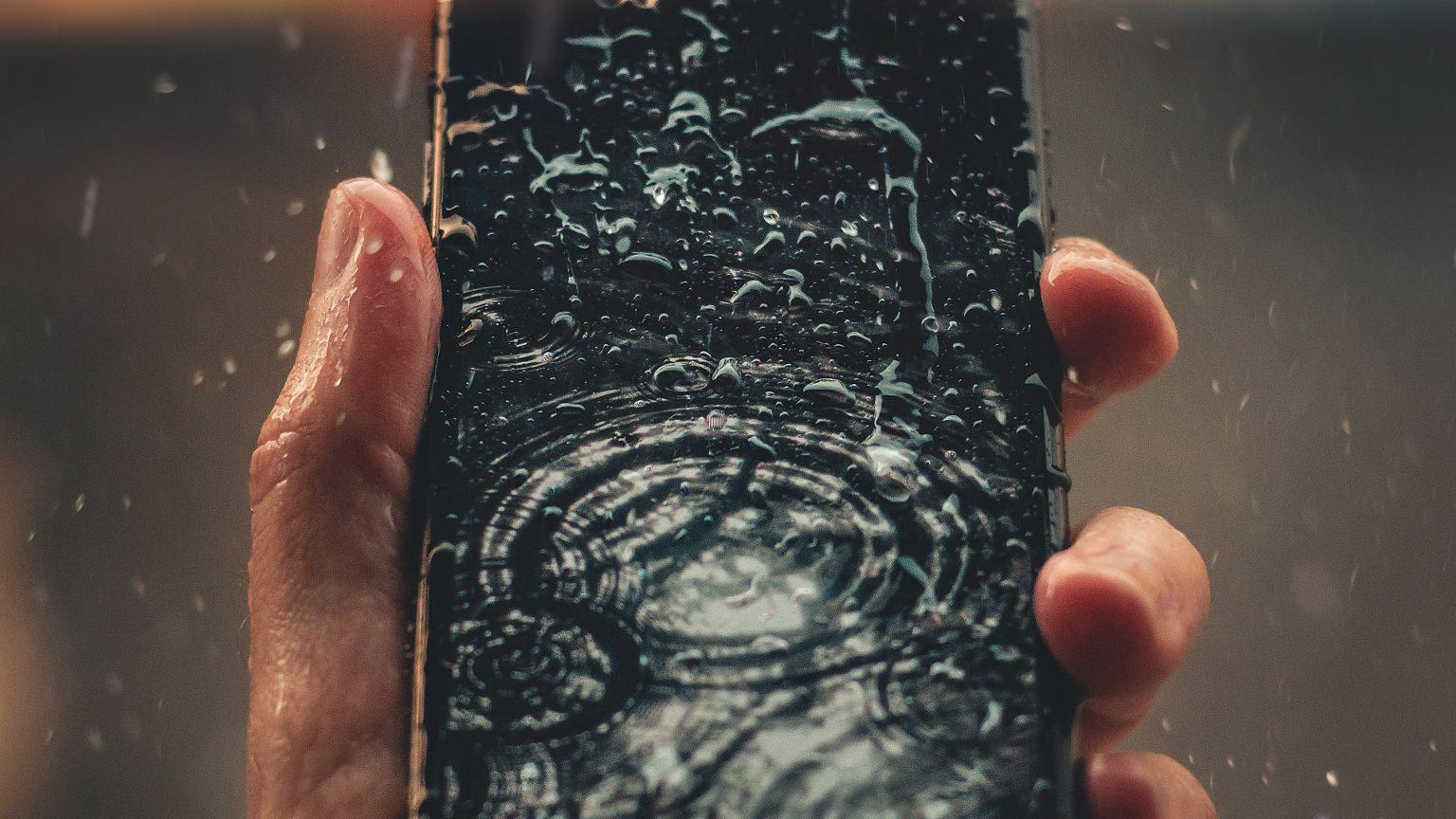 Phone in rain