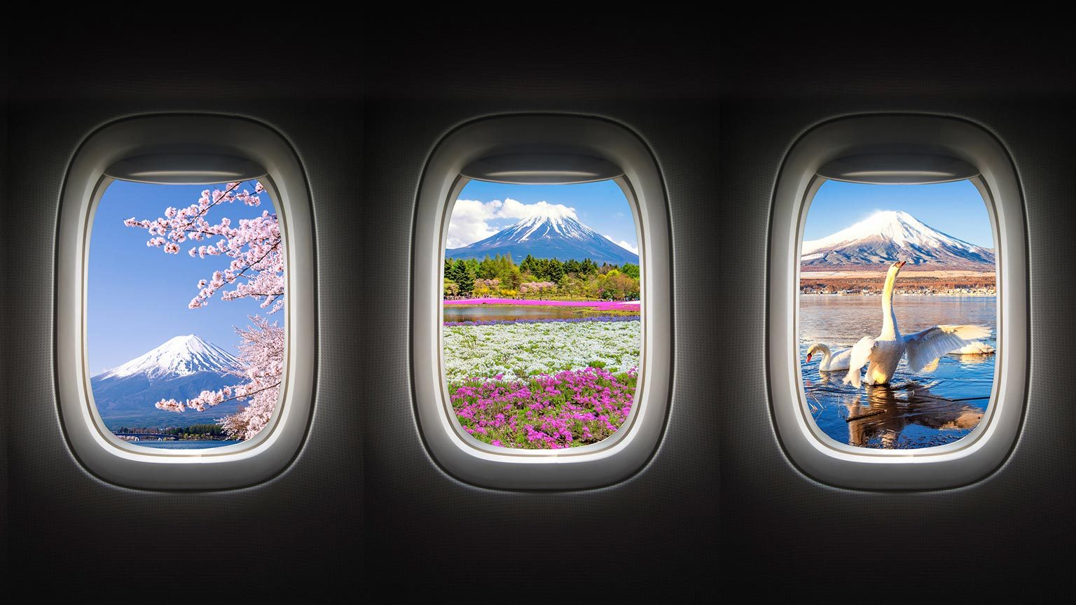 Destinations outside of airplane windows