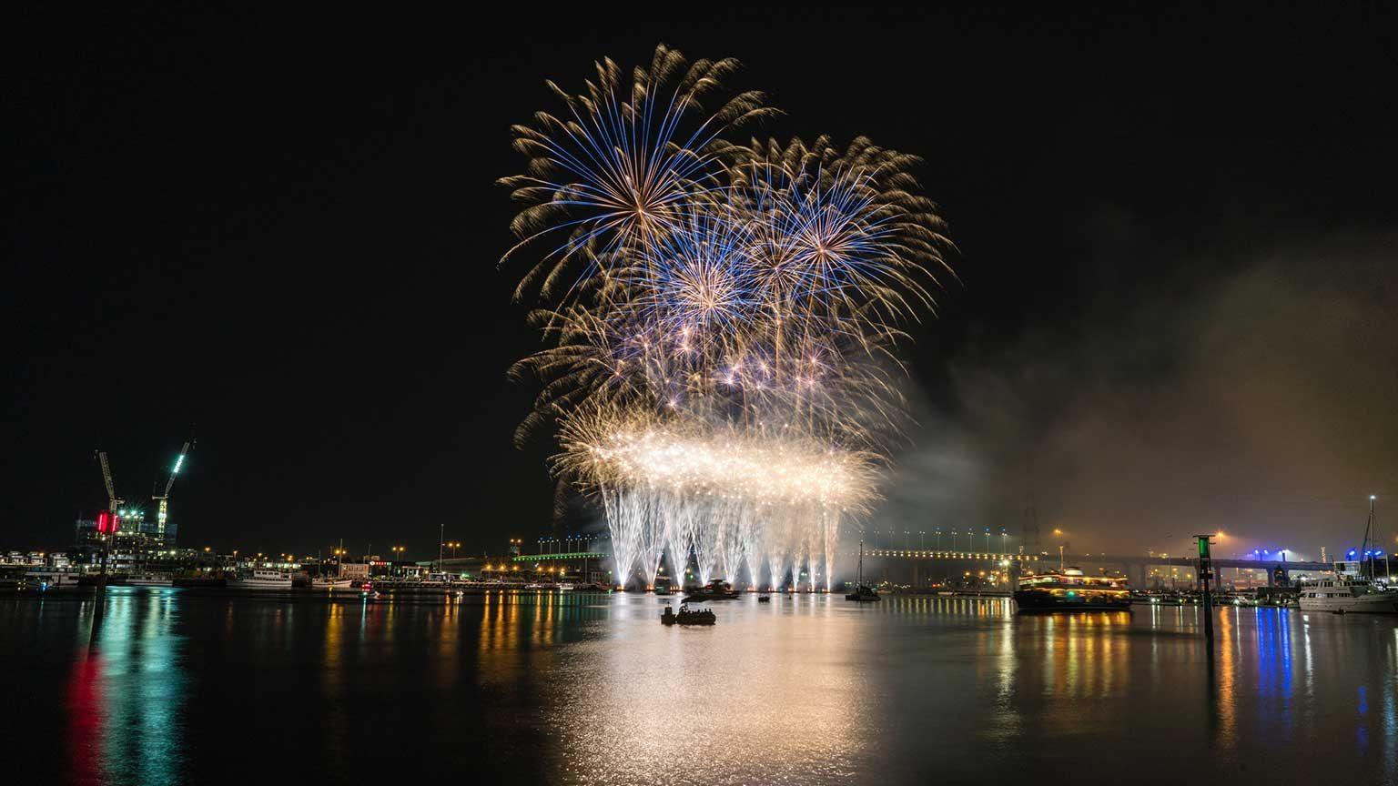 Australia Day fireworks in Melbourne.