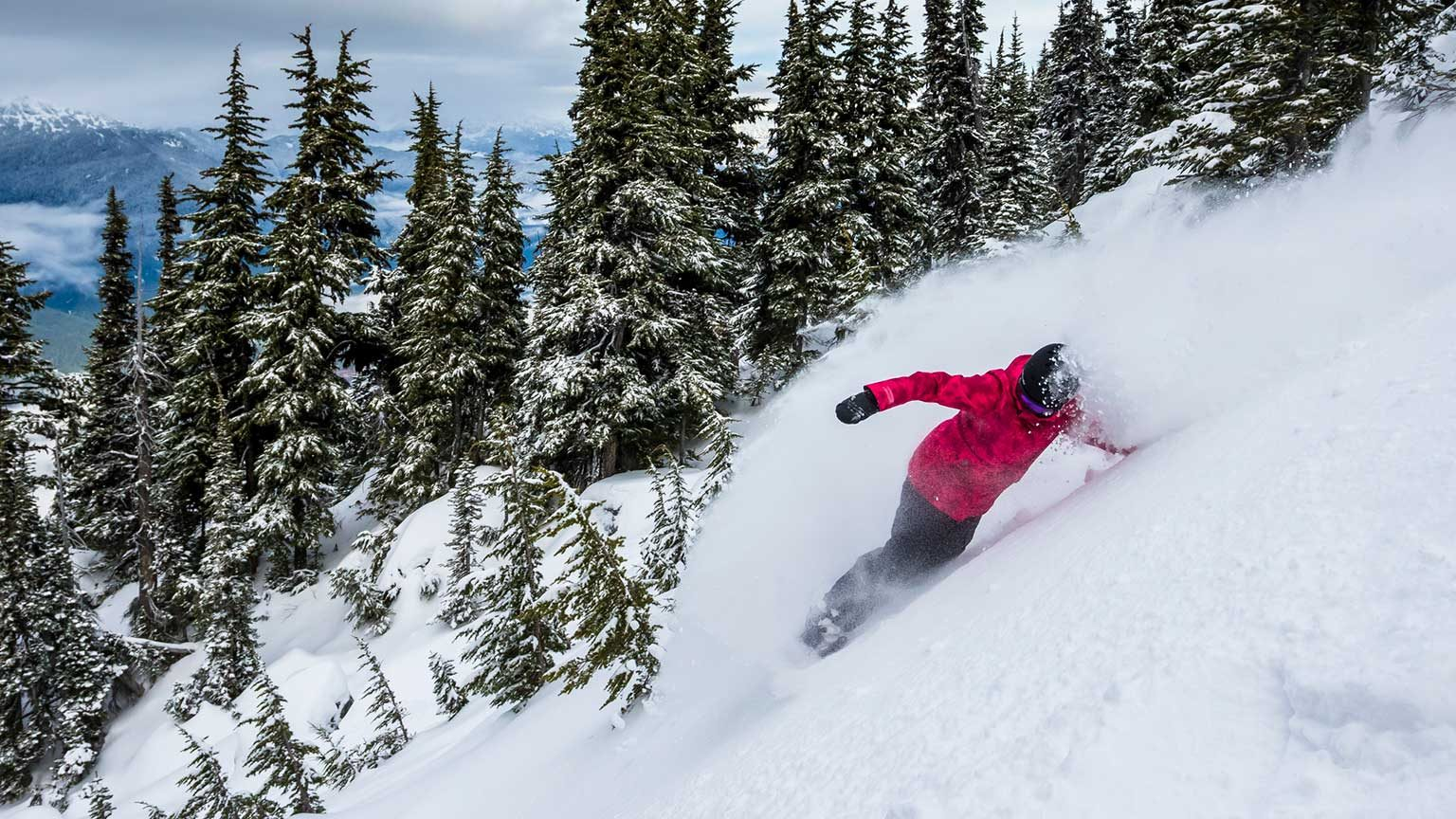 Snowboarding on the slopes of Whistler.