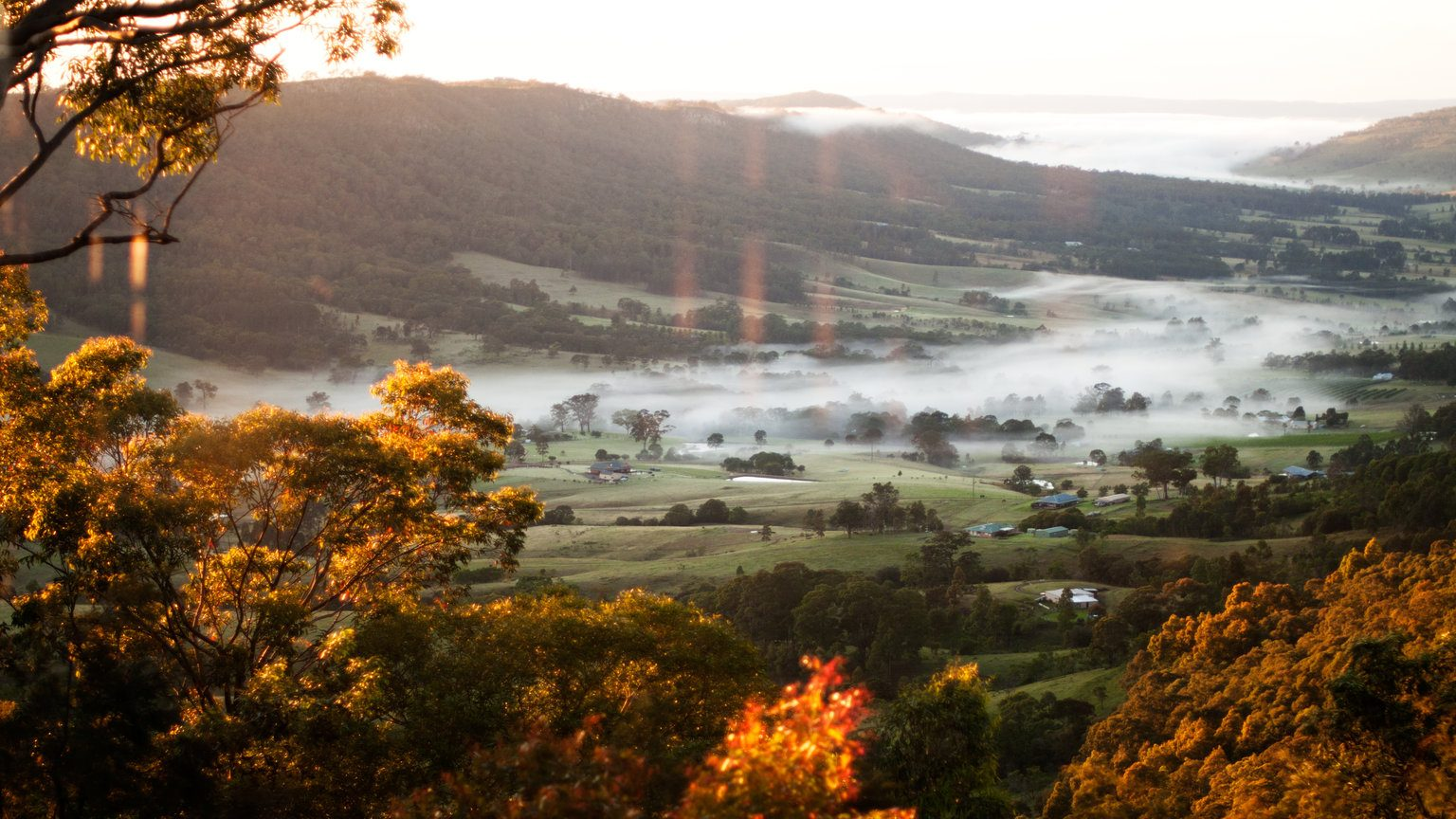 Looking down valley filled with mist.