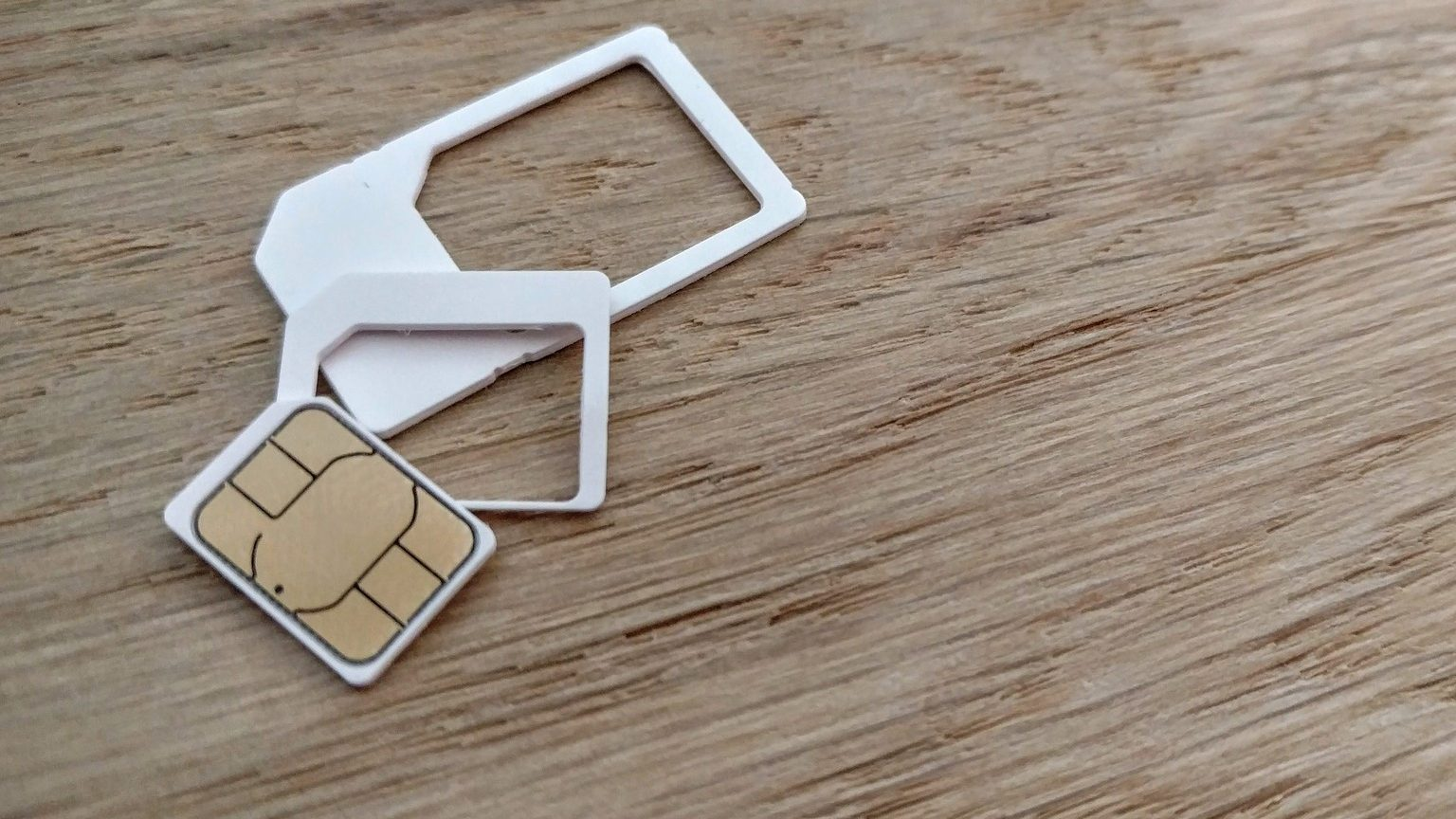 SIM card on table
