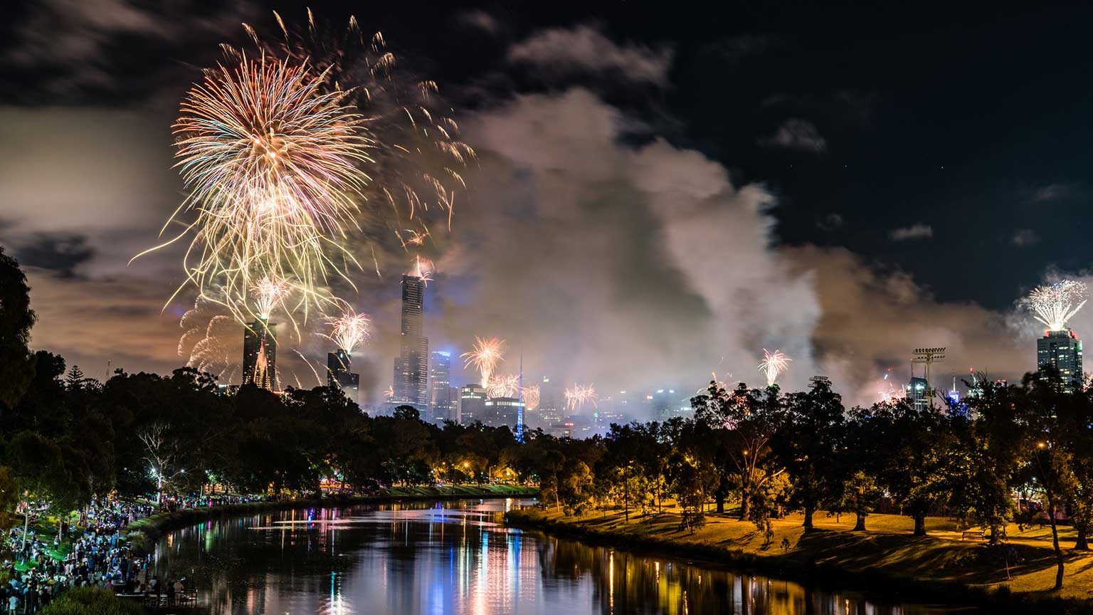 Fireworks over the Yarra River on New Year's Eve