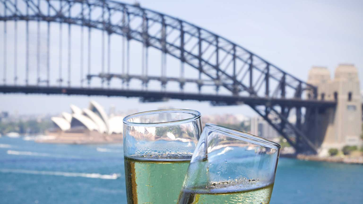 Champagne cheers in Sydney Harbour.