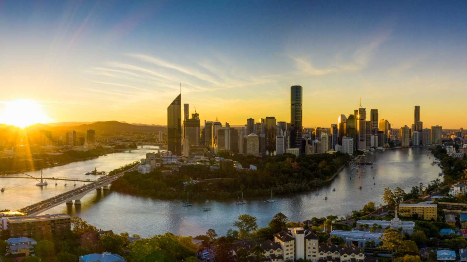 Aerial View of Brisbane City Sunset