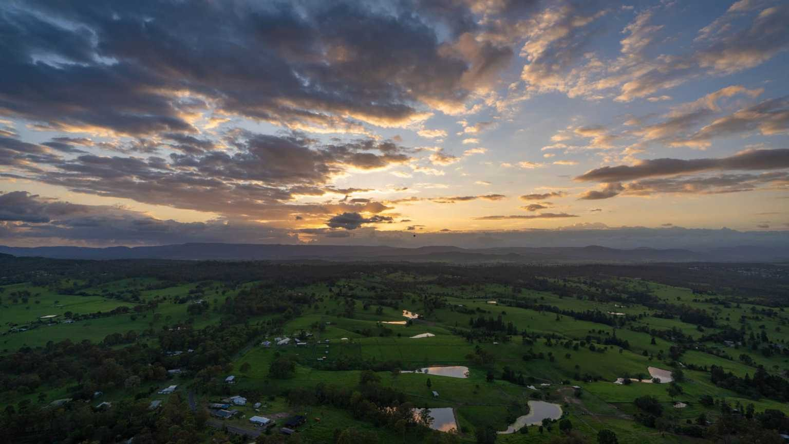View of the Gold Coast Hinterland from a hot air balloon.