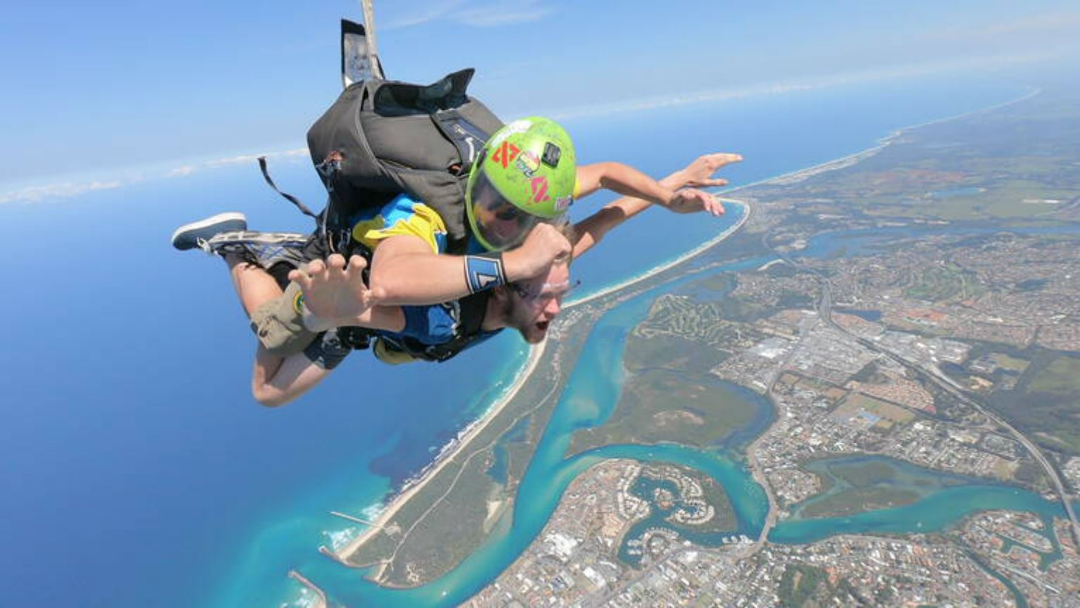 Skydiving above the Gold Coast