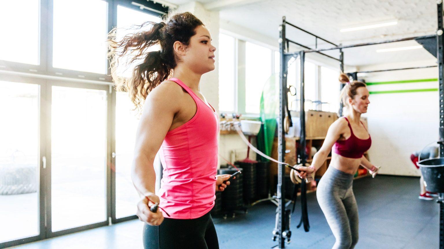 two ladies skipping rope