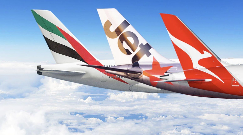 Emirates, Jetstar and Qantas planes.