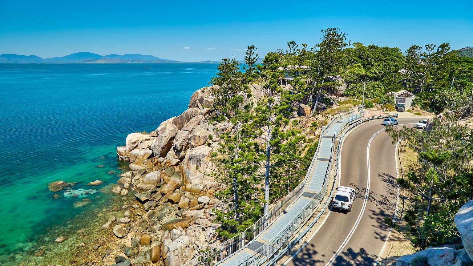 View of the Elevated roadway at Geoffrey Bay,Magnetic Island,Queensland,Australia