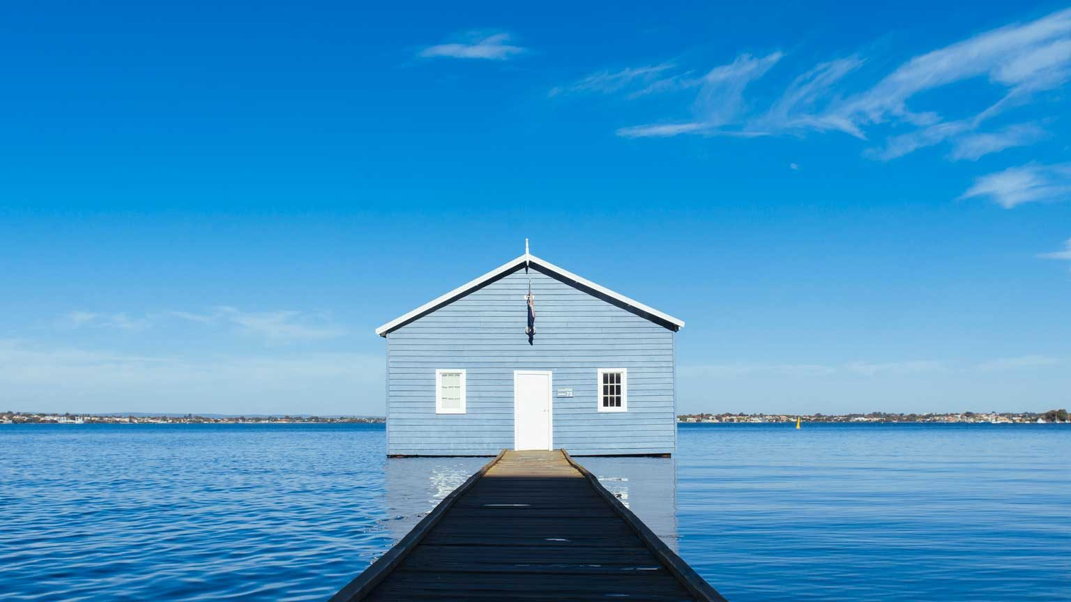 Iconic Crawley Edge Blue Boat Shed on Swan River in Perth, Australia