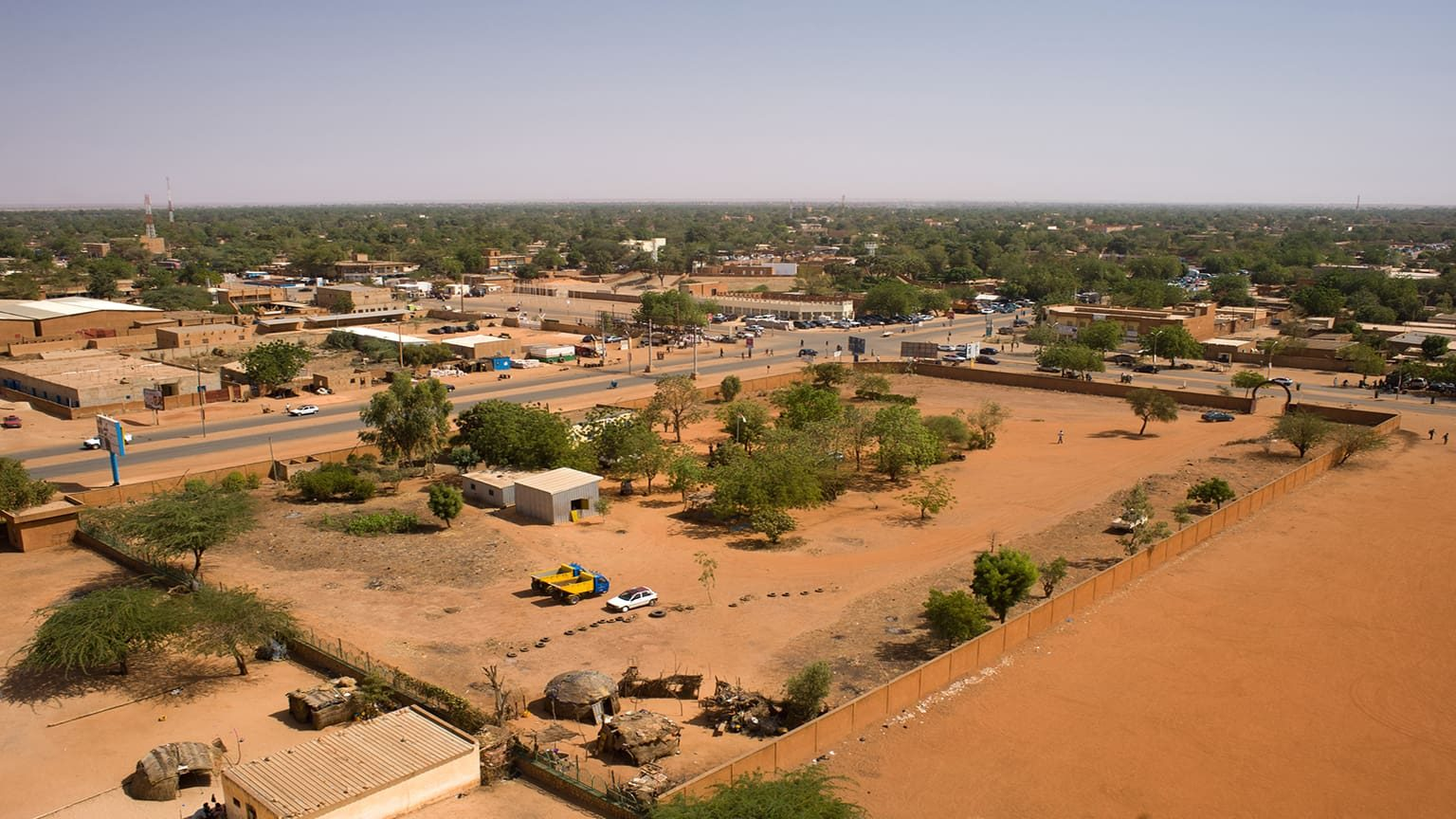 Aerial view of the African city of Niamey, Niger