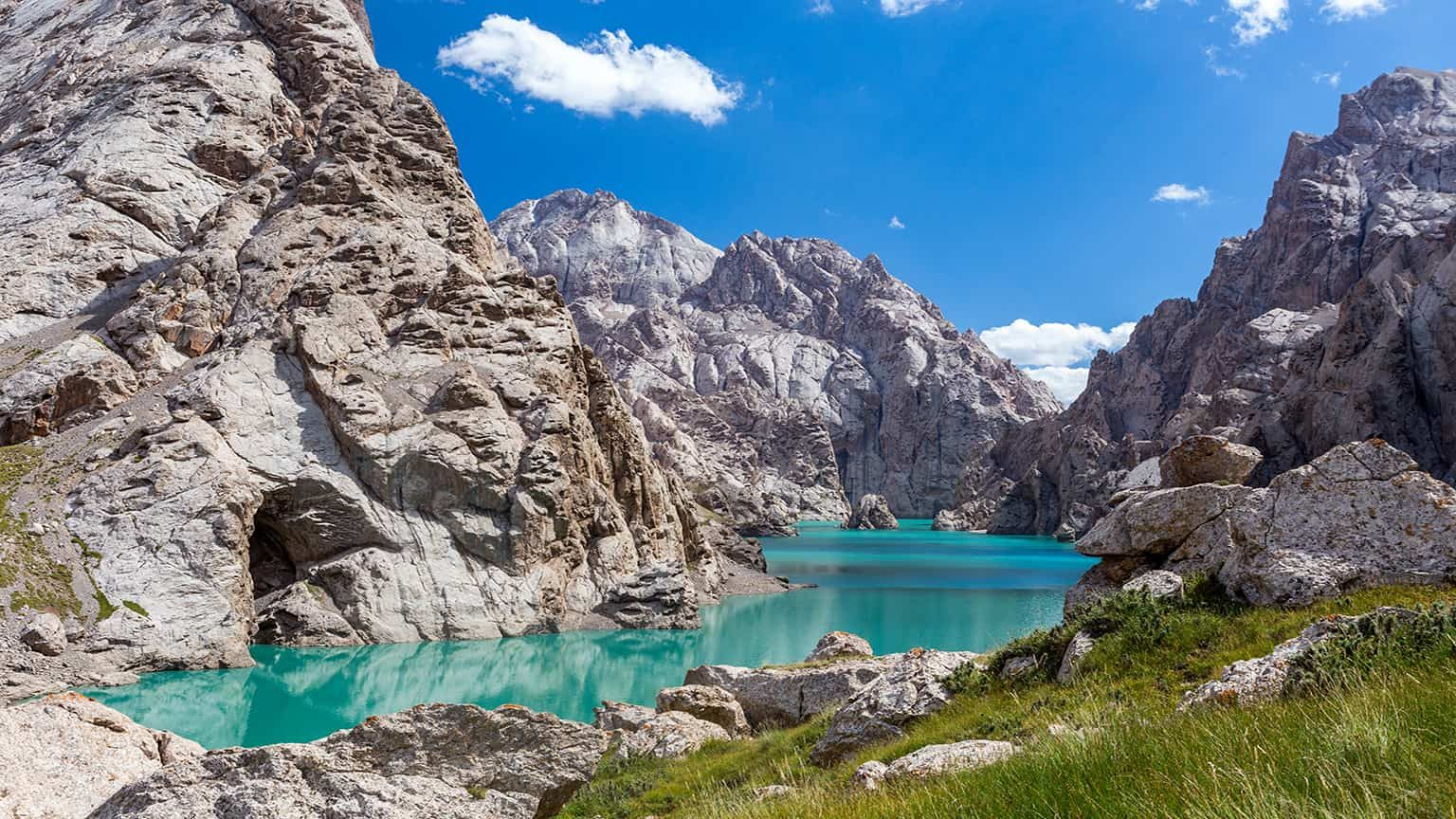 Amazing mountain lake Kelsuu, Kyrgyzstan
