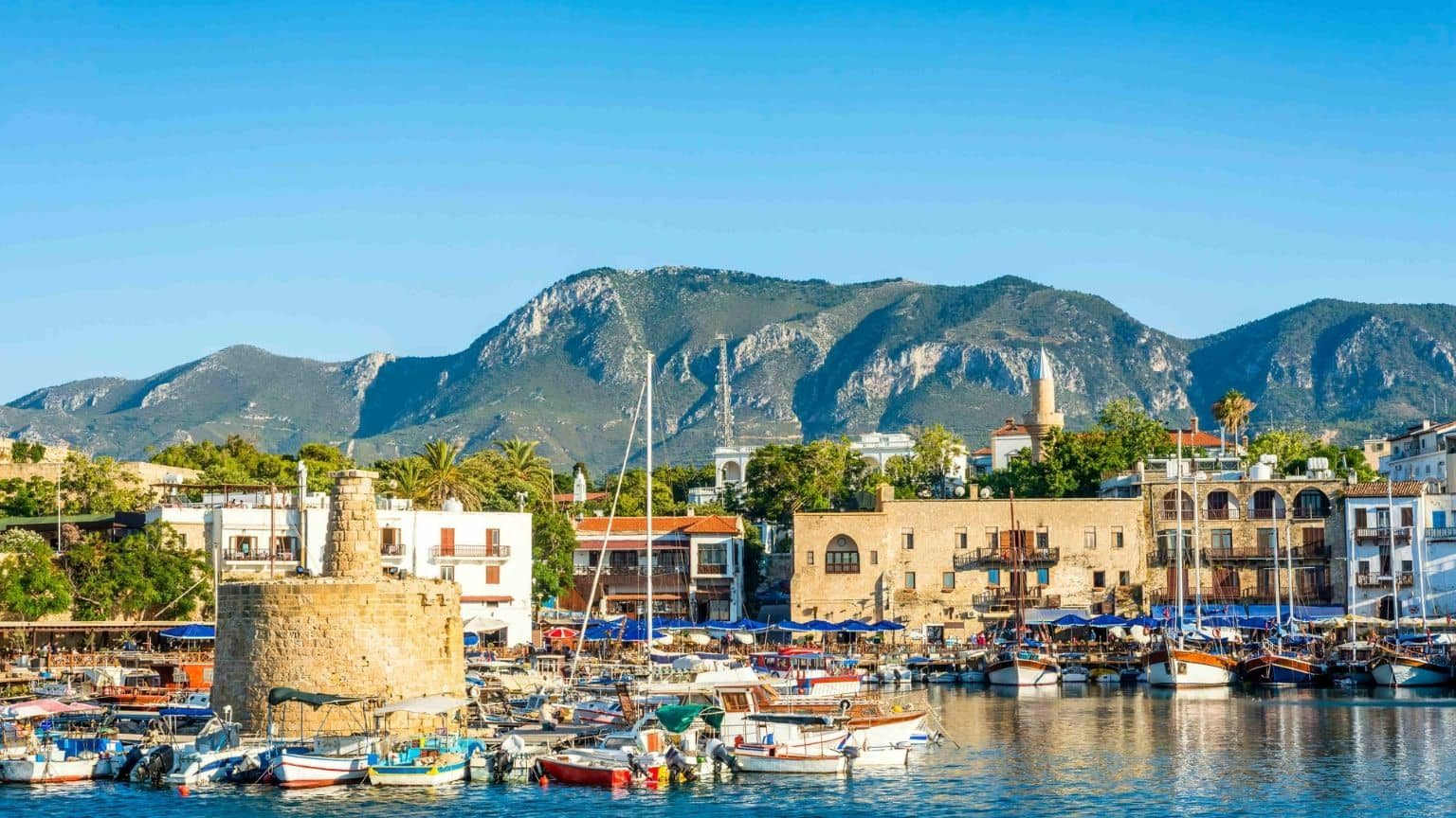 Ancient tower in Kyrenia Harbour, Cyprus