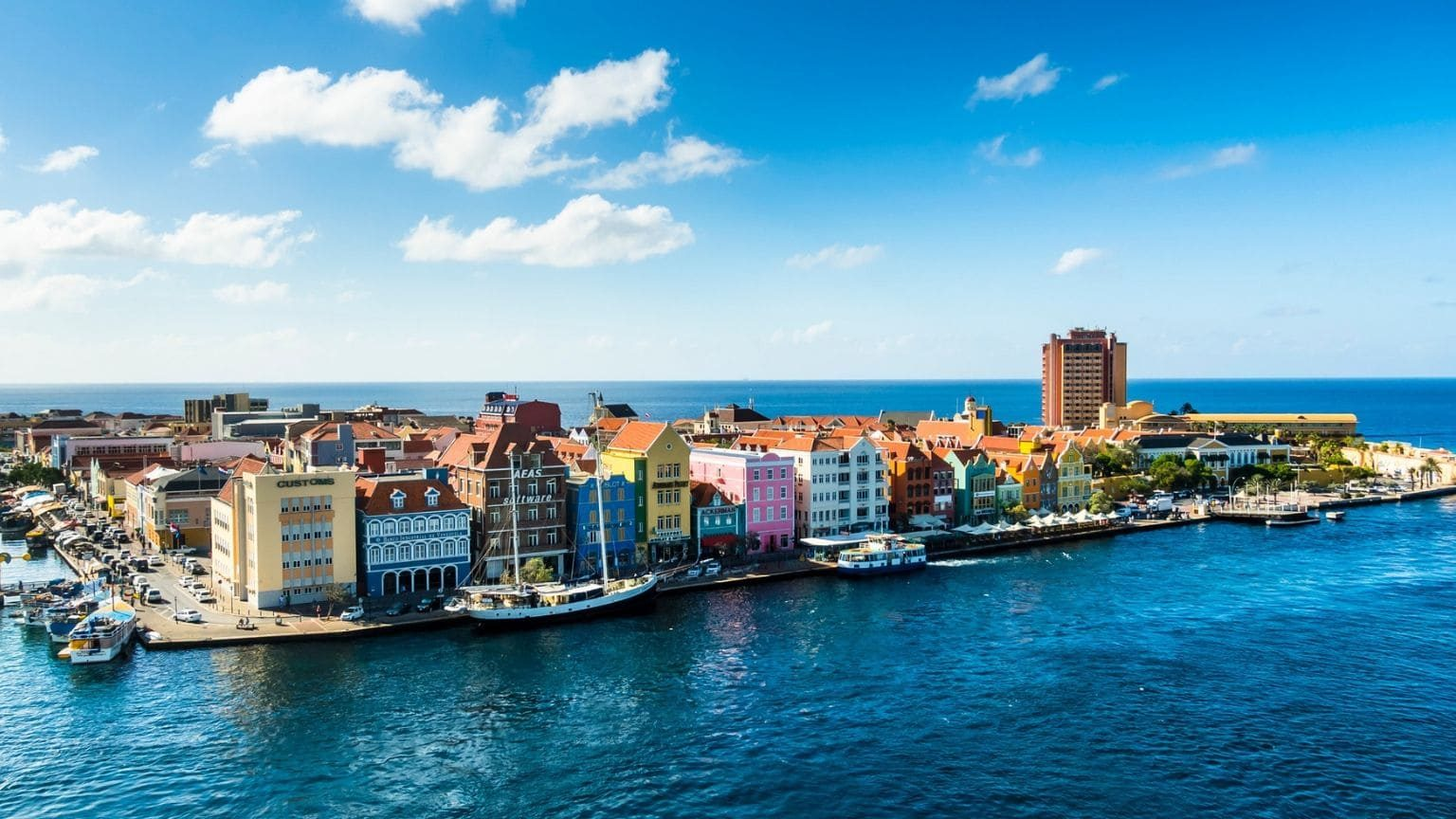 Colorful waterfront houses in Curacao