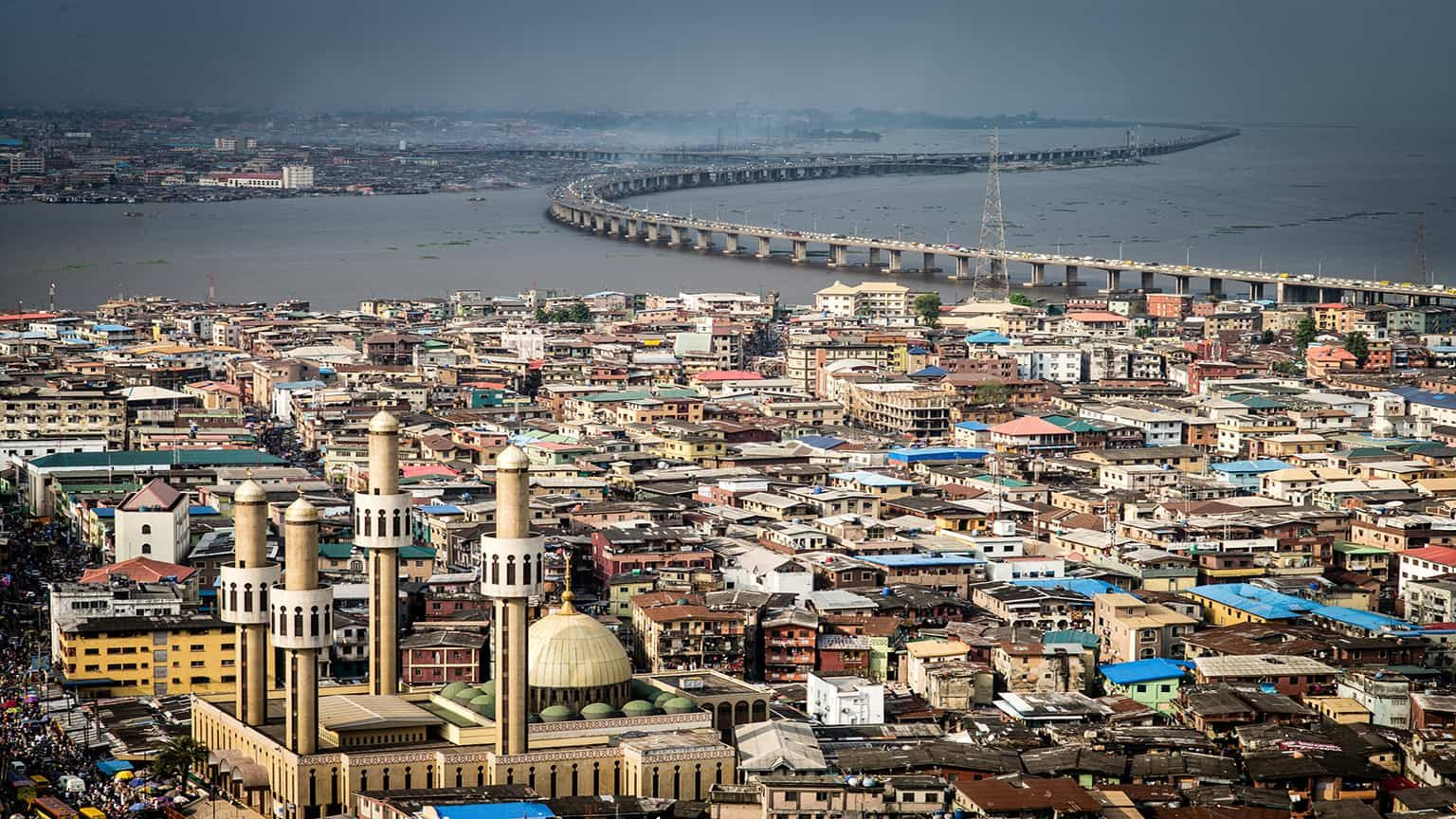 High angle view of buildings in Nigeria