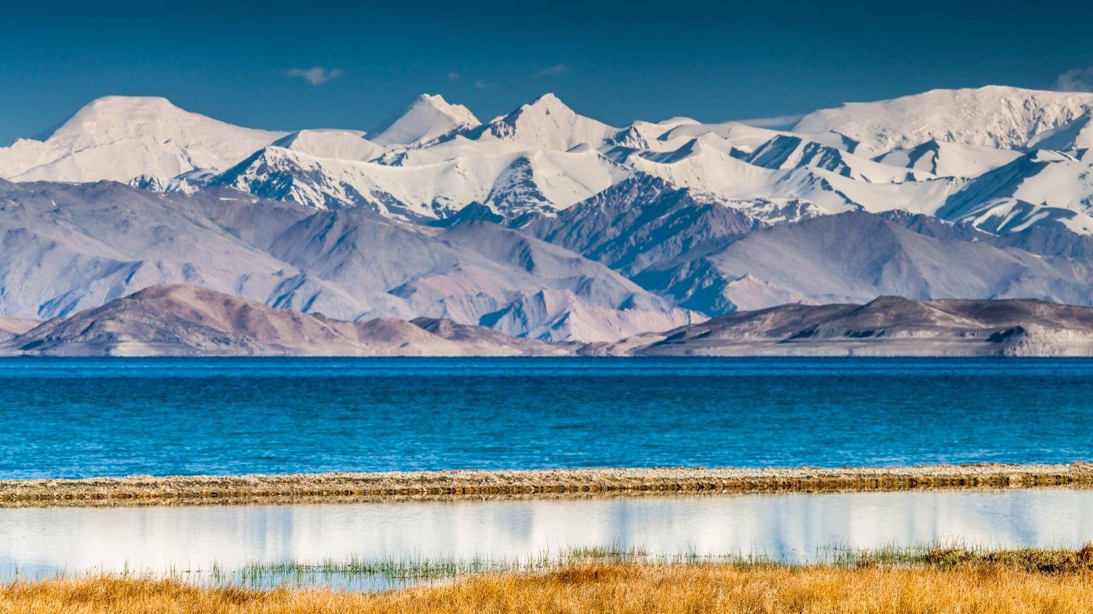 Beautiful view of Karakul lake in Pamir in Tajikistan