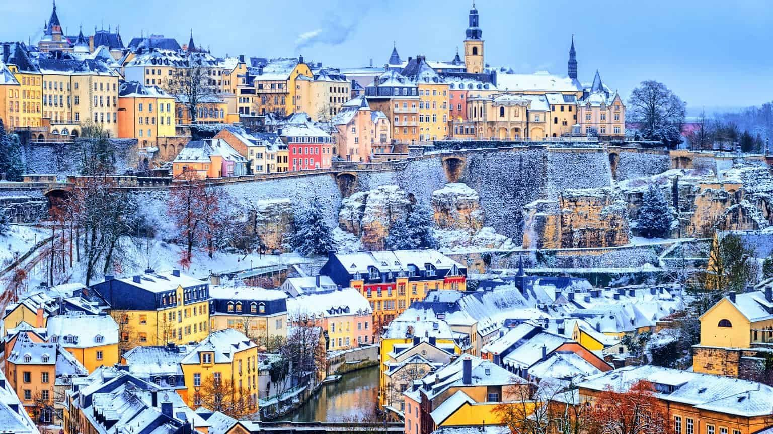 Luxembourg city in snow