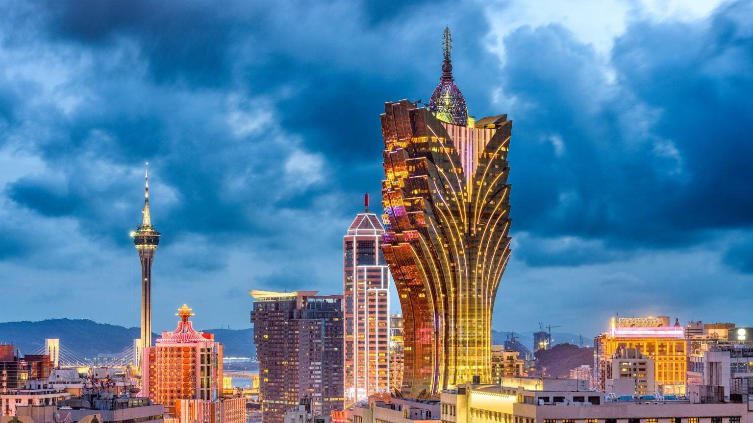 Macau city skyline at dusk