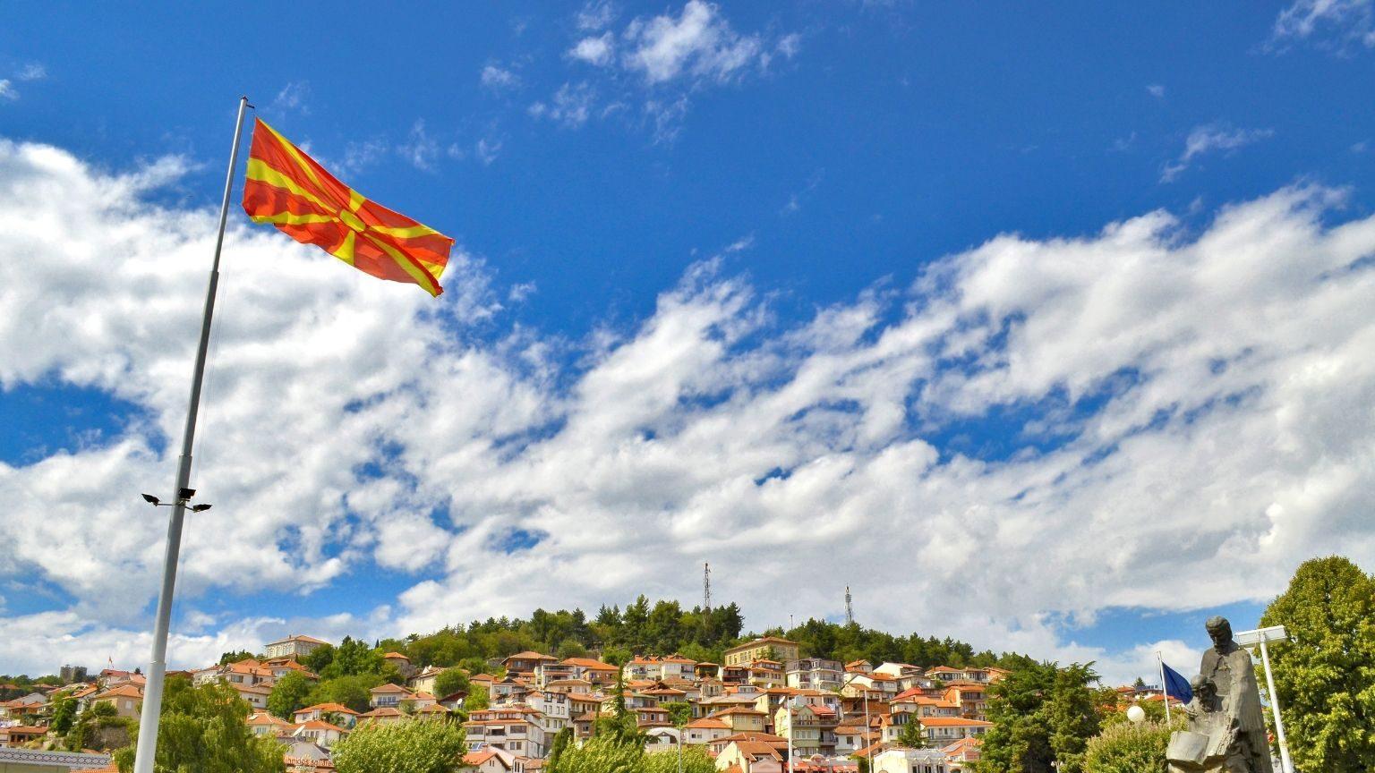 Macedonian flag waving in Ohrid City, Macedonia
