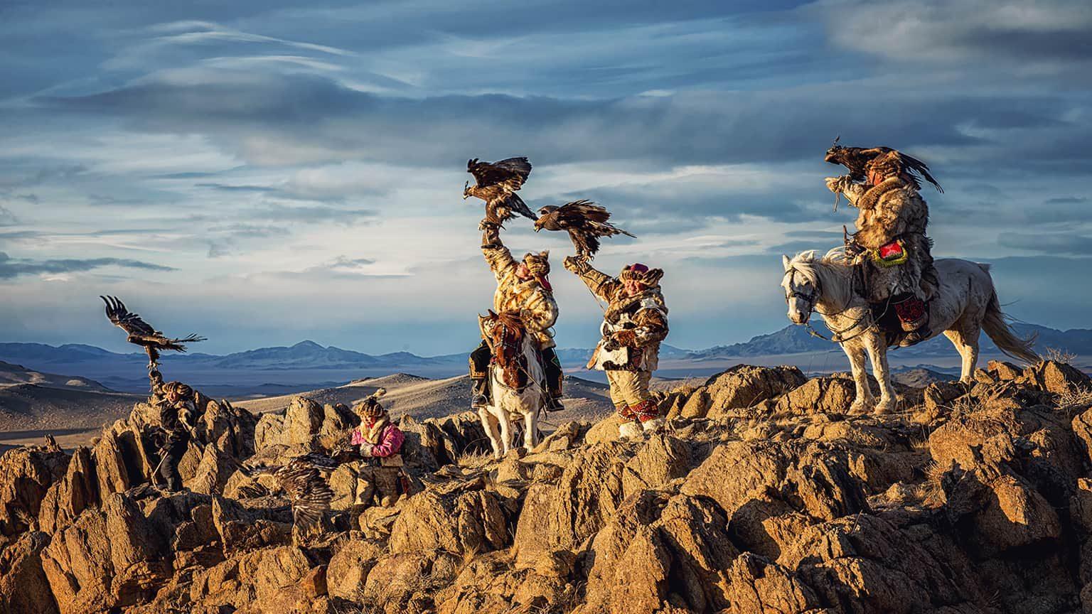 Mongolian eagle hunters on Altai Mountain, Mongolia