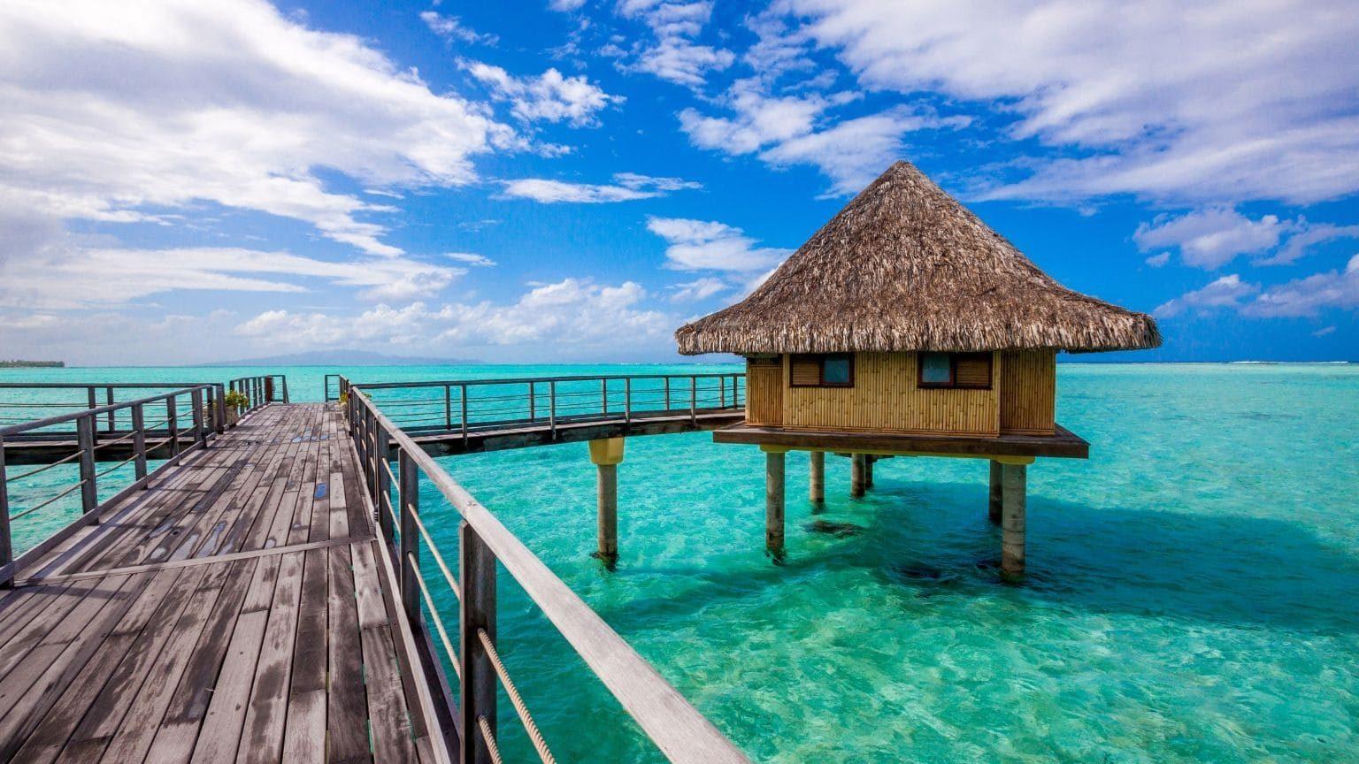 Nipa hut by the beach, French Polynesia