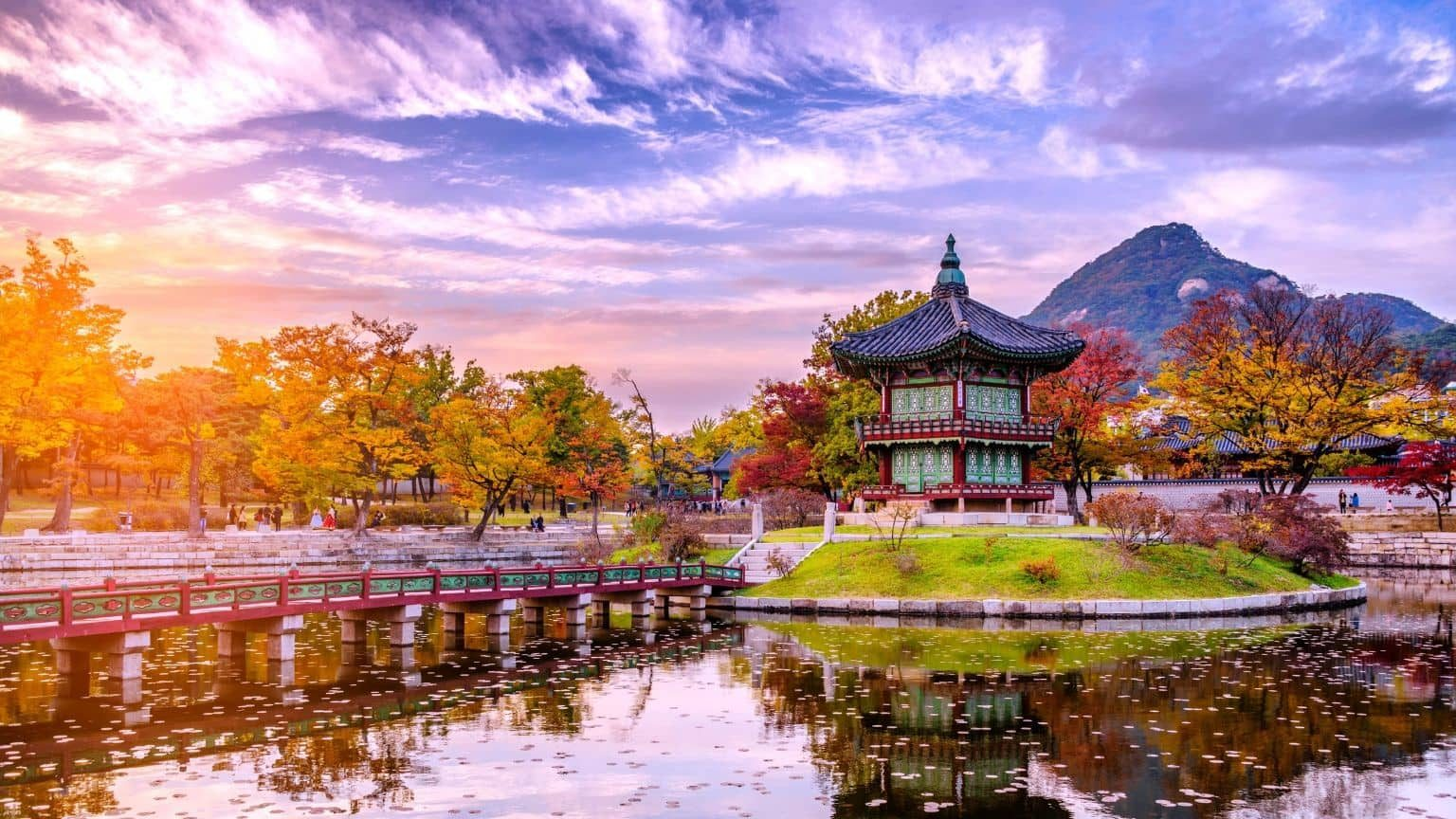 Sunset in water pavilion, Korea
