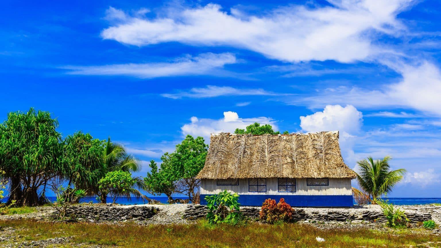 Traditional island house in Kiribati