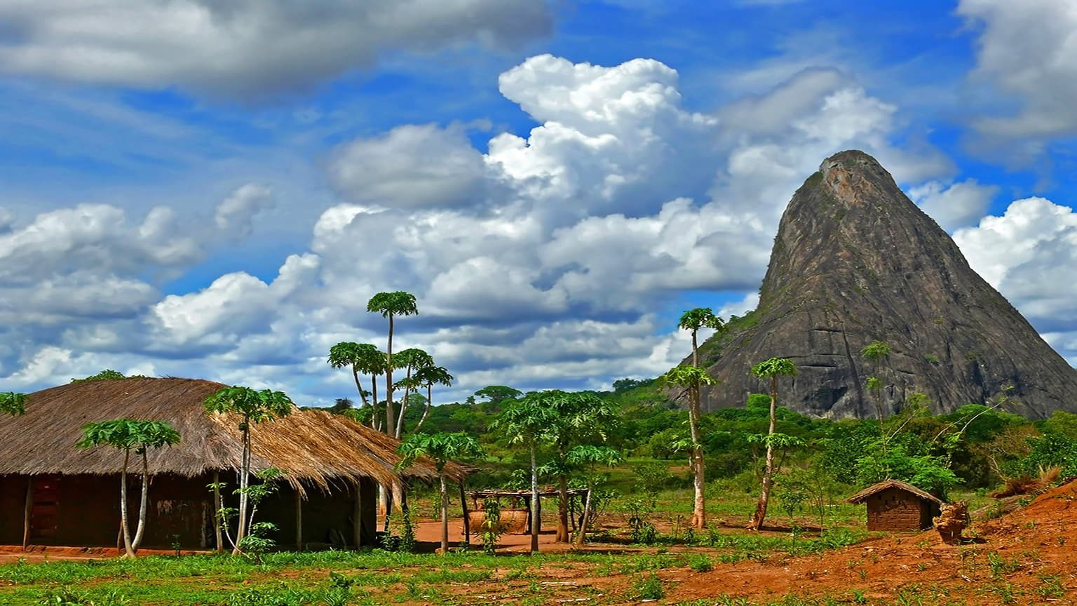 Village with a fabulously beautiful landscape in Mozambique