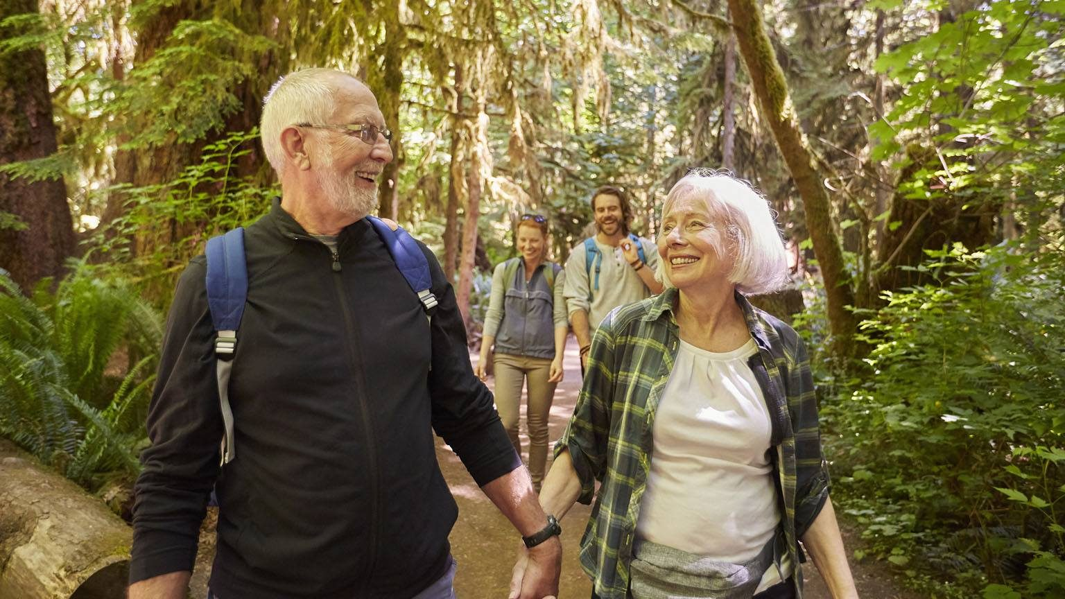 Seniors hiking