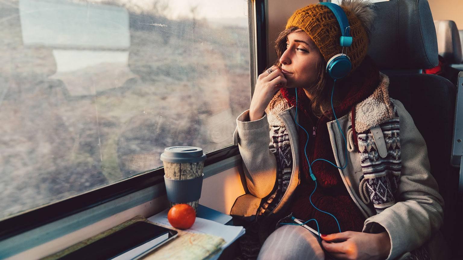 Traveler on train