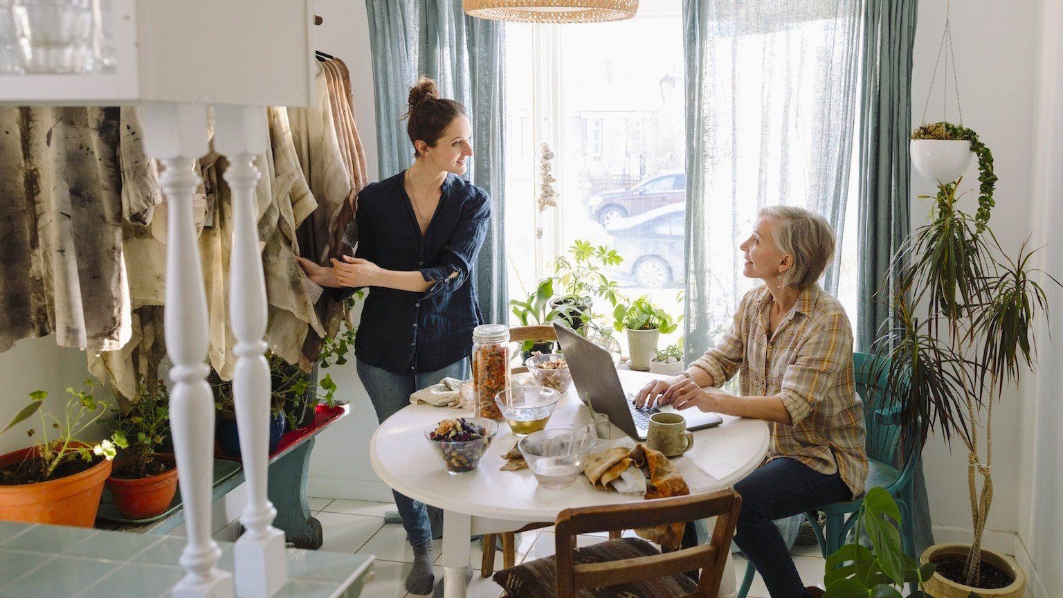 Two women talking in a store