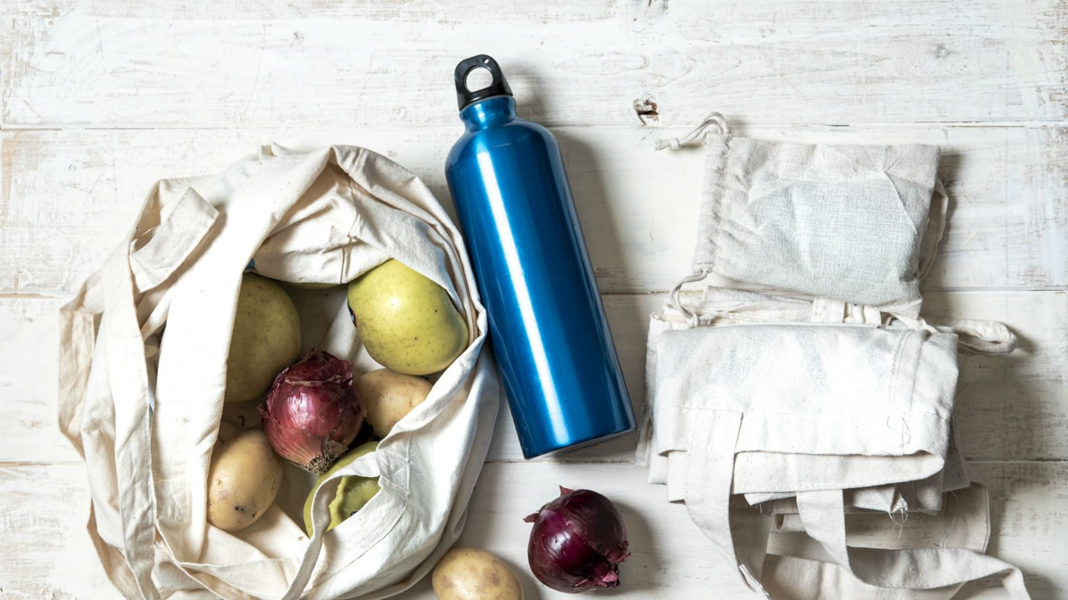 Reusable shopping bags and drink bottle