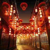 Street in China with lanterns
