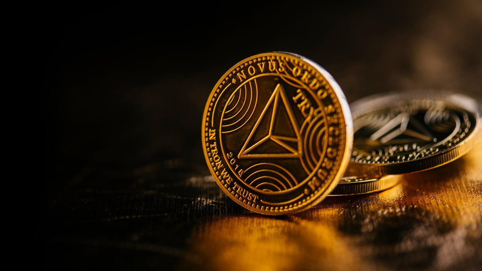 Closeup of golden Tron coin