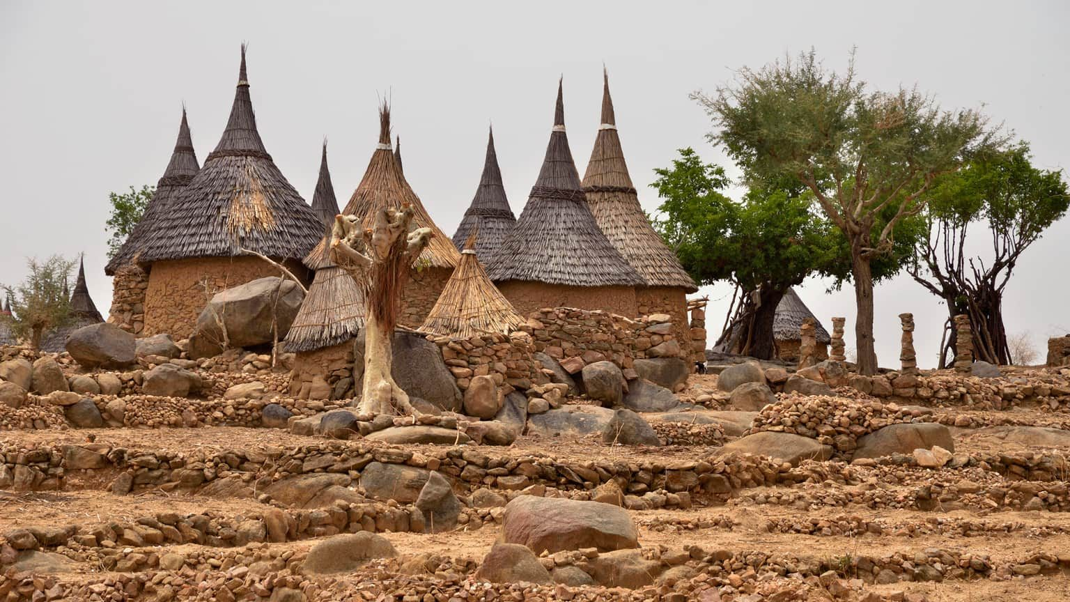 Village with typically thatched rondavels in the Mandara Mountains, Cameroon, Central Africa