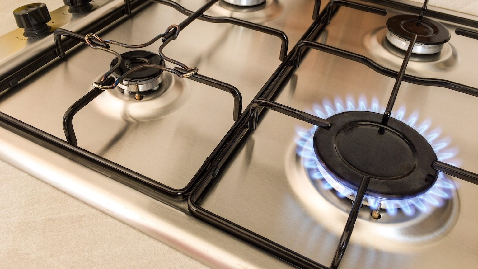 Close up of a gas burner