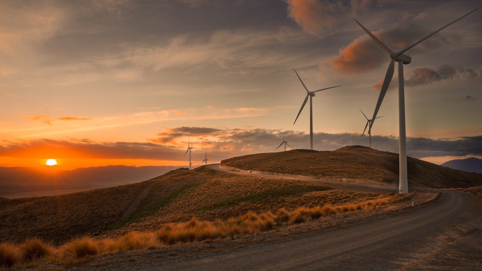 Sunset at White Hill Wind Farm at Otago, South Island, New Zealand.