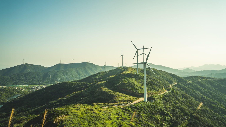 Wind turbines on grassy hills