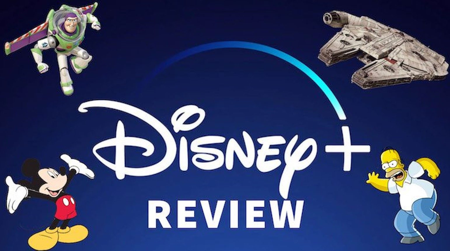 Buzz Lightyear, Mickey Mouse, Homer Simpson, Star Wars ship, Disney+ logo and review