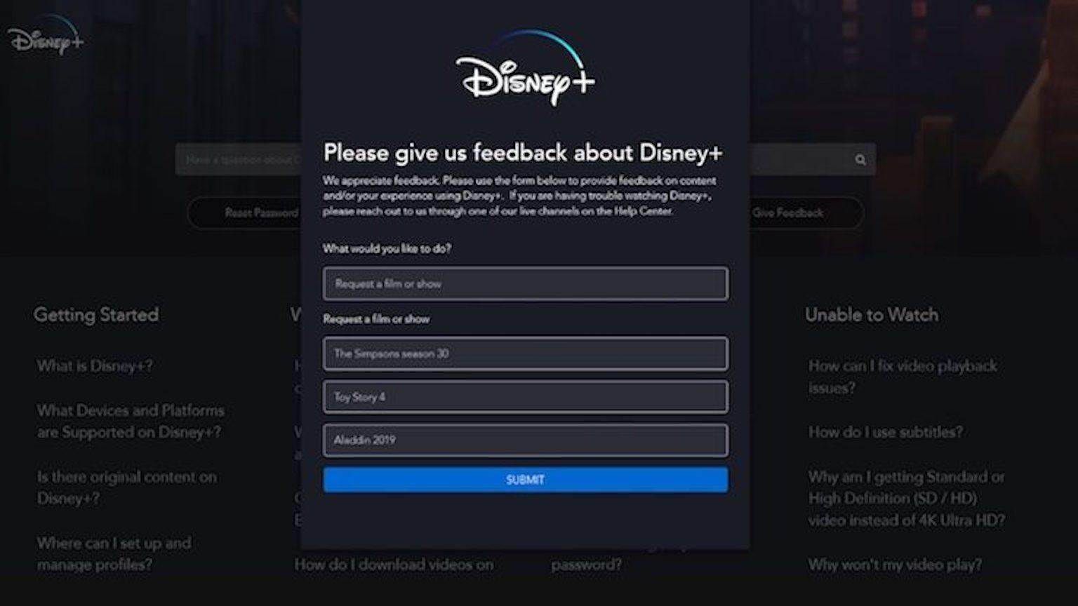 Disney + Movie Show Requests