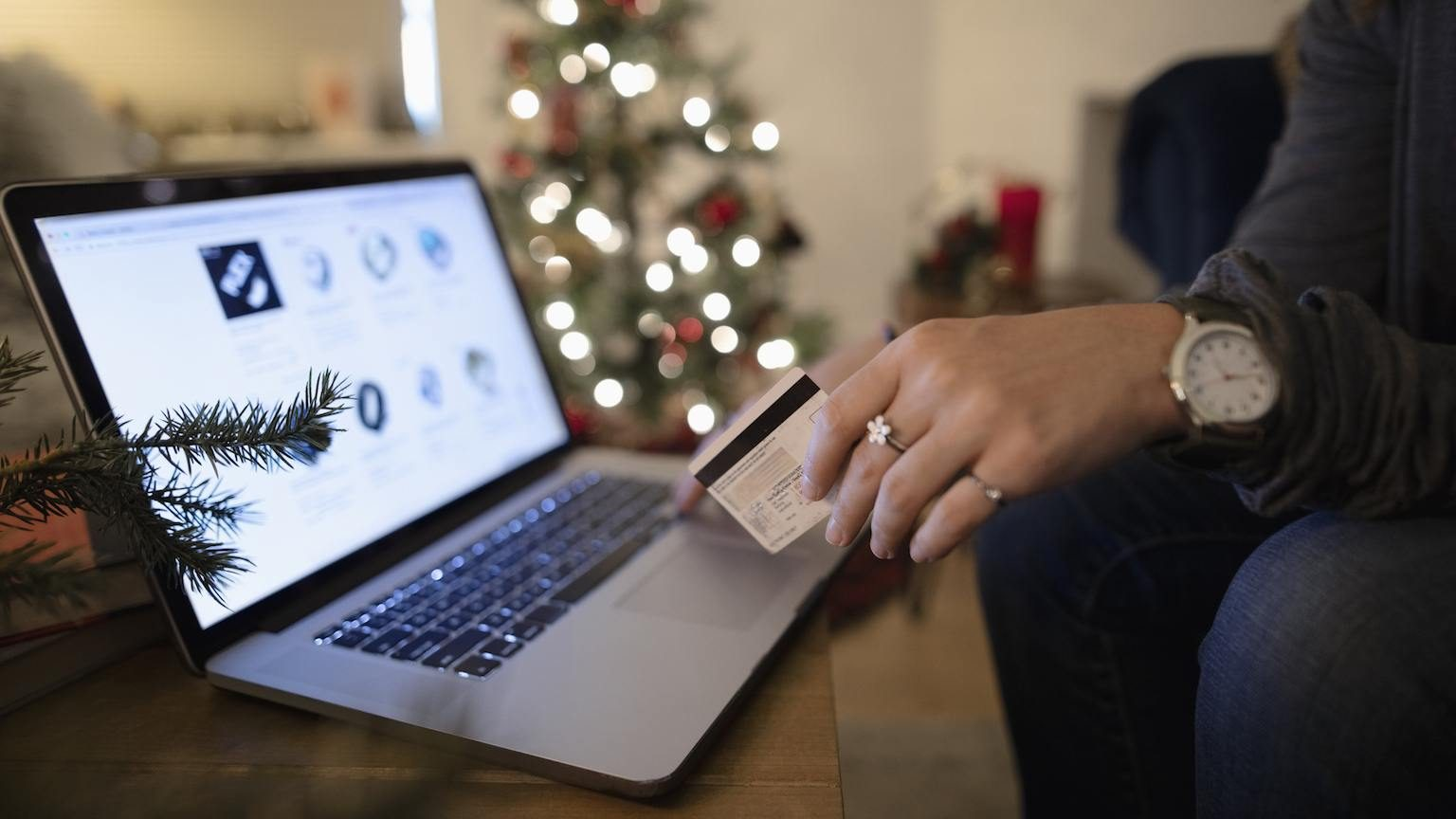 Person holding credit card with laptop with Christmas tree in the background