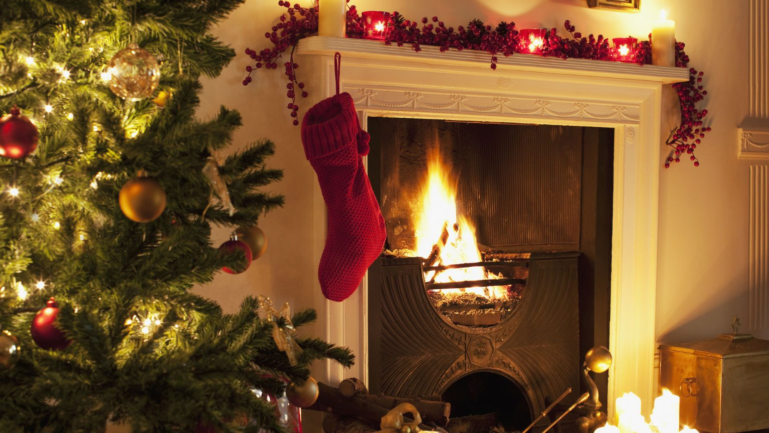 Stocking hanging over fireplace